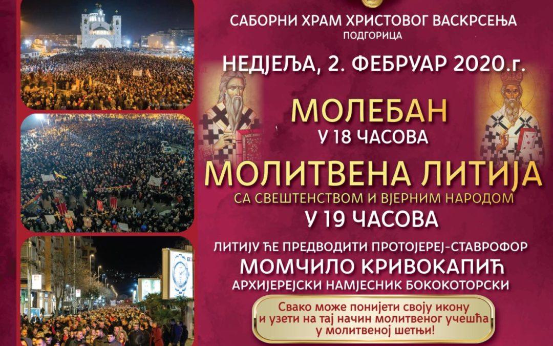 У недјељу, 2. фебруара литију у Подгорици предводи прота Момчило Кривокапић