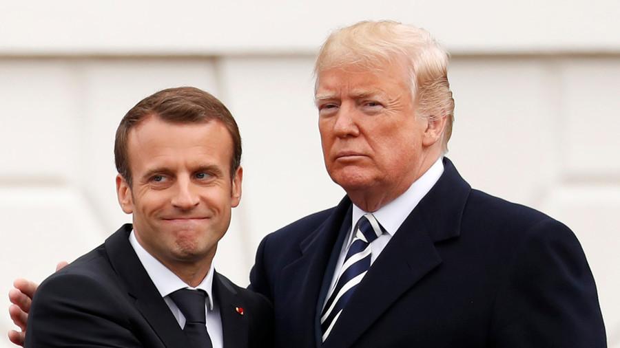 """РТ: """"Прекрасно пријатељство""""? Трамп и Макронов неспретни говор тела"""