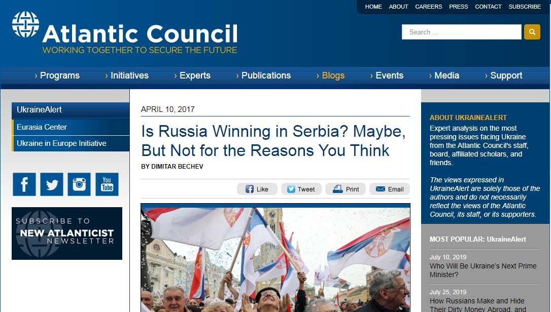 Потпредседник Атланског савета: Верујем да ће Србија признати независност Косова