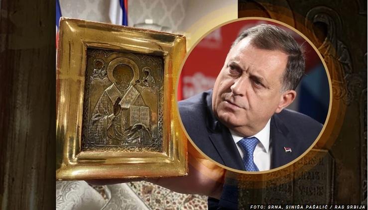 Priča da je ikona stara 300 godina zapravo artikal sa interneta od 100 evra rasplamsava sumnje u veze sa srbskim psima rata