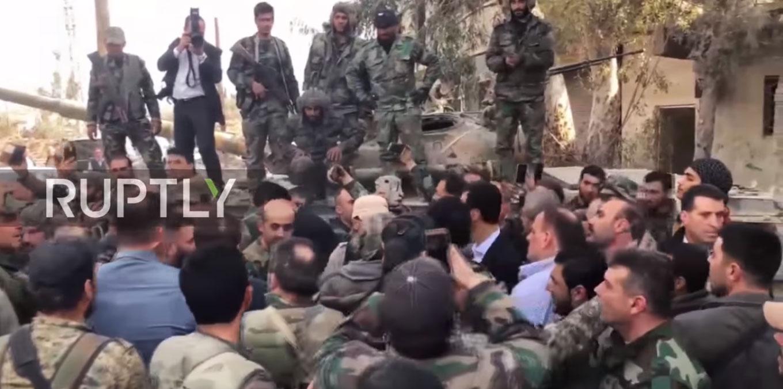 Председник Асад обишао положаје сиријских снага у Источној Гути