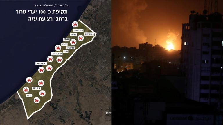"""РТ: Израел гађао 100 """"терористичких циљева"""" у Гази као одговор на ракетне нападе - Тел Авив"""