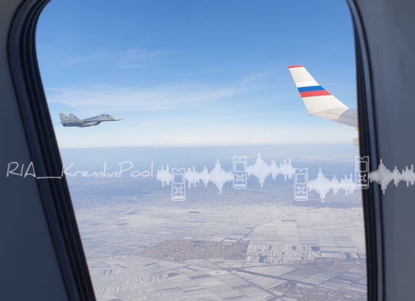 """Србски """"миг"""" погледом из авиона председника Путина"""