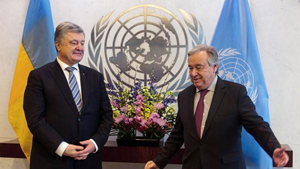 Порошенко са Гутерешом разговарао о изгледима за размештање мировне мисије УН-а у Донбасу
