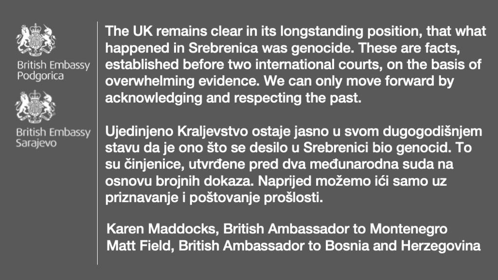 """""""У Сребреници је био геноцид"""": После америчке реаговале и британске амбасаде у Црној Гори и БиХ"""