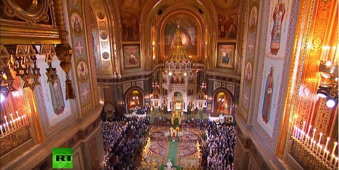 Božićna liturgija u Hramu Hrista Spasitelja u Moskvi