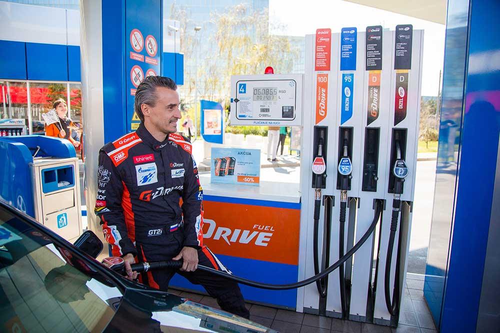 """Roman Rusinov  - specijalni gost  na GAZPROM benzinskoj stanici """"Novi Beograd"""""""