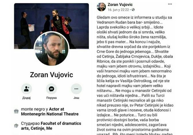 """Глумац Црногорског народног позоришта вређа Србе за које каже да су """"ништавила, незналице, изроди, смећари"""
